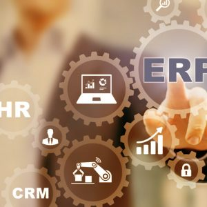 Enterprise Resource Planning (ERP) and business process management technology concept on virtual interface with icons in connected gears and manager in background